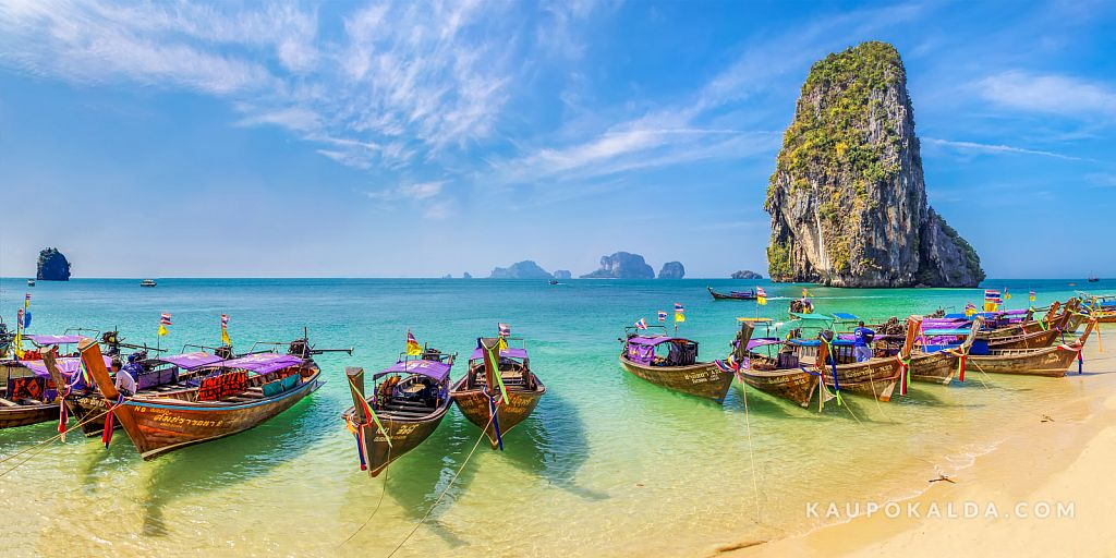 Long tail boats on the Phra Nang beach, Thailand